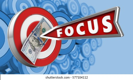 3d illustration of target with focus arrow and 100 dollars over many targets background