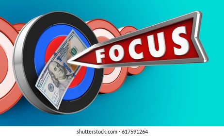 3d illustration of target with focus arrow and 100 dollars over targets background