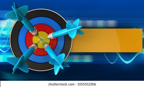 3d illustration of target with four darts over blue waves background