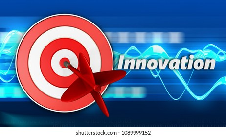 3d illustration of target with innovation sign over blue waves background