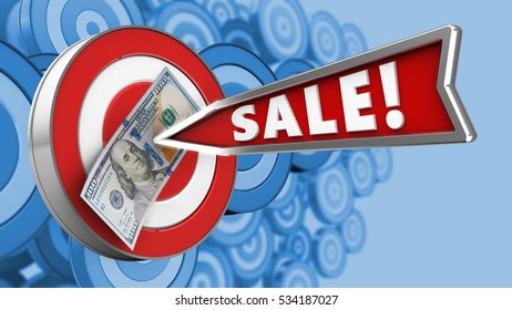 3d illustration of target with sale arrow and 100 dollars over many targets background