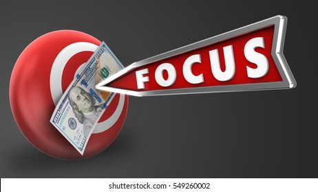 3d illustration of target sphere with focus arrow and 100 dollars over gray background