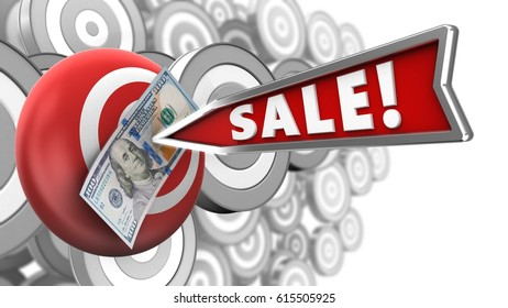 3d illustration of target sphere with sale arrow and 100 dollars over many targets background