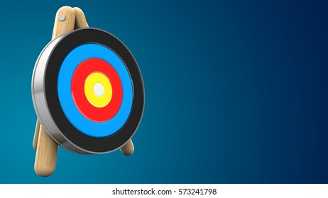 3d illustration of target stand with blank over blue background