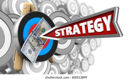 3d illustration of target stand with strategy arrow and 100 dollars over many targets background