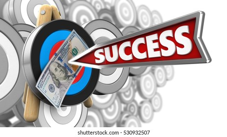 3d illustration of target stand with success arrow and 100 dollars over many targets background