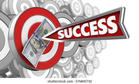3d illustration of target with success arrow and 100 dollars over many targets background