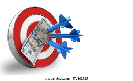 3d illustration of target with three darts and 100 dollars over white background