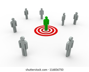 3d illustration of targeting buyer concept.