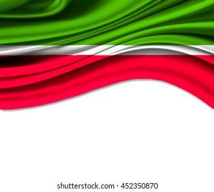 3D illustration of Tatarstan fabric waving of flag.