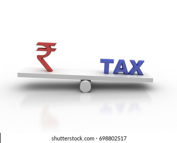 3d illustration Tax Concept with Rupee symbol