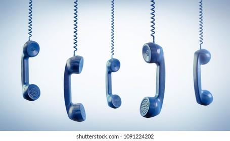 3D Illustration Telephone receiver blue