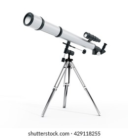 3D illustration of a telescope isolated on white background.