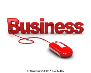 3d illustration of text 'business' with computer mouse connected