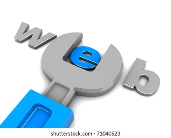 3d illustration of text 'web' and wrench, web design concept