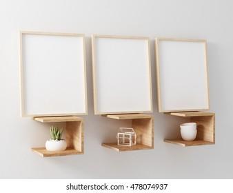 3d illustration three blank mockup frame