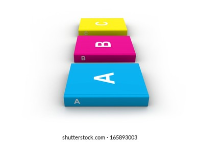 3D illustration of three books isolated on white background.