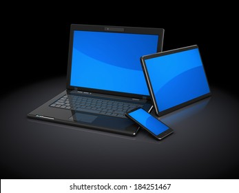 3d illustration of three different mobile computers, over black background