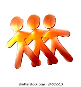 3d illustration of three friends hugging and dancing over a white background.
