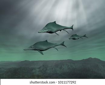 3d illustration of three Ichthyosaurs