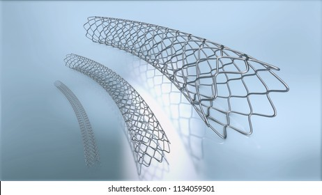 3d illustration of three metal stents for implantation and supporting blood circulation into blood vessels