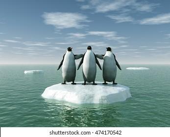 3d illustration of three penguins on an ice floe