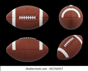 3D Illustration of  three vews of american football ball with black wireframe on black background