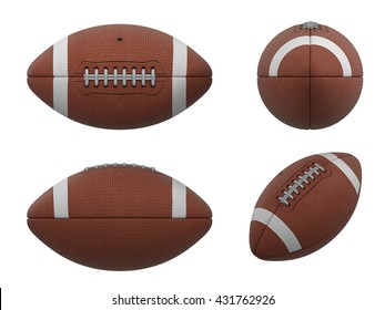 3D Illustration of  three vews of american football ball with black wireframe on white background