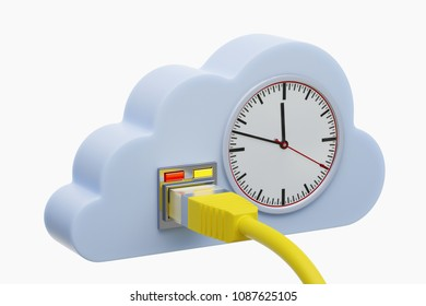 3D illustration - Time in the cloud