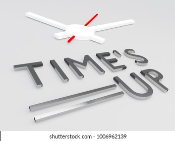 3D illustration of TIME'S UP title with a clock as a background