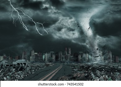 3D illustration of tornado or hurricane's destruction along its path toward fictitious city with flying debris and collapsing structures. Concept of natural disasters, judgment day, apocalypse.
