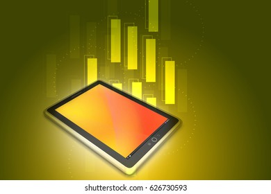 3d illustration of Touch screen tablet computer
