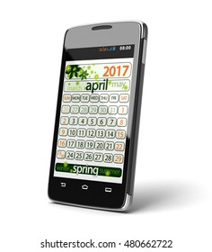 3D illustration. Touchscreen smartphone with april 2017. Image with clipping path.