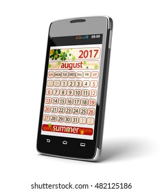 3D Illustration. Touchscreen smartphone with august 2017. Image with clipping path.