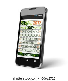 3D illustration. Touchscreen smartphone with may 2017. Image with clipping path.