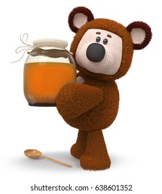 3d illustration a toy bear with a vessel of nectar/3d illustration bear with honey jar