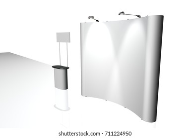 3D illustration Trade exhibition stand, Exhibition round, 3D rendering visualization of exhibition equipment, Advertising space on a white background, with space for text ads