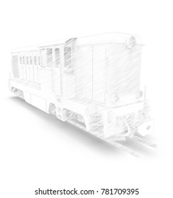 3d illustration of train. white background isolated. icon for game web.