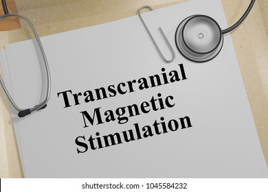 3D illustration of Transcranial Magnetic Stimulation title on a medical document