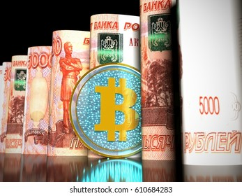 3D illustration of a transparent bitcoin on a Five thousand Russian rubles banknotes rolled into a tube