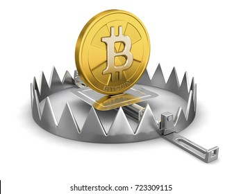 3d illustration. Trap and bitcoin. Image with clipping path