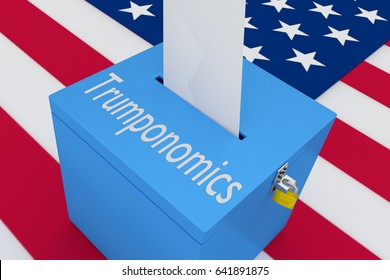 """3D illustration of """"Trumponomics"""" script on a ballot box, with US flag as a background."""