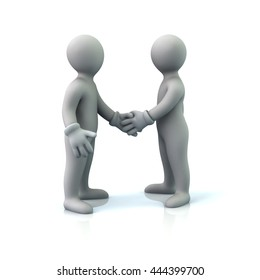 3d illustration of two business men handshake isolated on white background