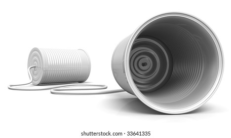 3D Illustration of two cans connected with a cord, metaphor for communication