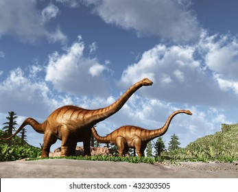 3d illustration of two dinosaurs Diplodocus