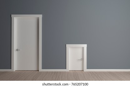 3D illustration. Two doors on the wall .Large and mlinica. The concept of interior