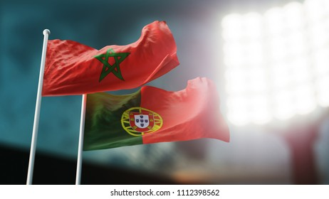 3D Illustration. Two flags waving on wind. Night stadium. Championship  Morocco versus Portugal