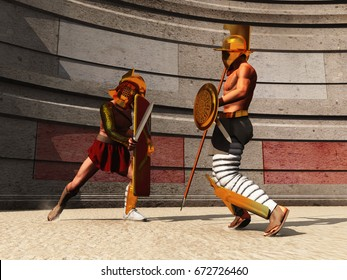 3d illustration of two gladiators