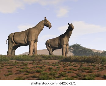 3d illustration of two Indricotherium