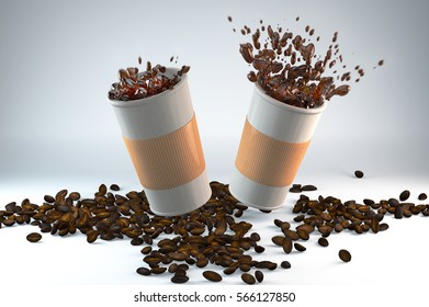 3D illustration of two paper cups of coffee with coffee beans